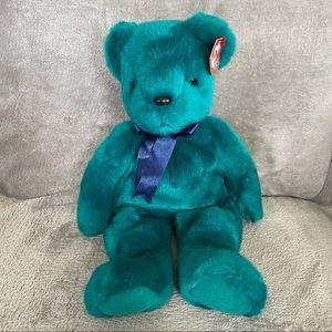 """Ty Beanie Buddy 13"""" Teddy the Teal Bear Bean Plush"""